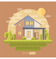 Flat with house and garden vector image vector image