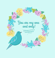 Flowers and bird You are my one and only vector image