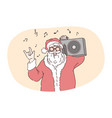 funny santa celebrating christmas and new year vector image
