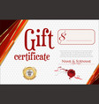 gift certificate with golden seal and design vector image