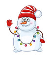 greeting snowman with christmas garland vector image vector image