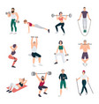 gym people set young man and women engaged in vector image vector image