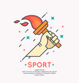 hand with a burning torch for sports vector image vector image