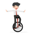 happy business riding unicycle cartoon vector image