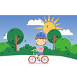 happy child riding bicycle outdoor cartoon vector image vector image