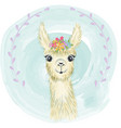 happy cute little llama smiling vector image vector image