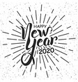 happy new year 2020 handlettering in black and vector image
