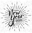 happy new year 2020 handlettering in black vector image