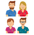 hospital workers in multicolored scrubs vector image vector image