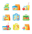 lunchboxes with sandwiches and fresh fruits flat vector image