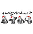 merry christmas and happy new year girl image set vector image