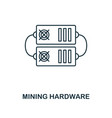 mining hardware outline icon monochrome style vector image