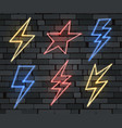neon electrical lightning sign set vector image