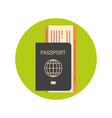 passport and ticket on plane icon boarding vector image