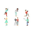 people with cameras and smartphones set vector image vector image