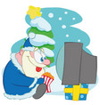 santa claus watching tv with pop corn vector image vector image
