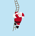 Santa on the ladder vector image vector image