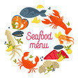 seafood menu promo emblem with fresh delicious vector image