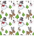 seamless background with snowman and reindeer vector image vector image