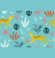 seamless pattern wit leopards on a blue vector image