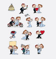set of characters bride and groom vector image vector image