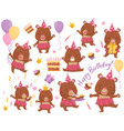 set of happy girl bear in different actions vector image vector image