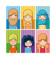 set of hippie avatar vector image vector image