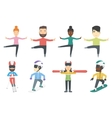 set of winter sport characters vector image vector image