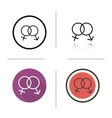 Sex symbol flat design linear and color icons set vector image