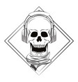 skull with headphones and scarf vector image vector image