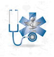 stethoscope with medical symbol to save lifes vector image vector image