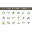 war and military icon set 48x48 pixel perfect vector image vector image