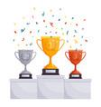 winner podium cups gold silver bronze rewards vector image