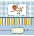 romantic greeting with funny little bird vector image