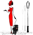 lady with black dog vector image