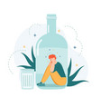 alcohol addiction drunk man inside alcohol bottle vector image