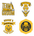 bachelor party t shirt design label set vector image