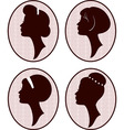 beautiful women silhouettes vector image