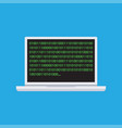 binary code on laptop icon vector image