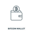 bitcoin wallet outline icon monochrome style vector image vector image