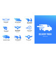 blue delivery logos collection set of emblems vector image