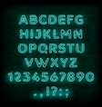 blue neon font or type letter and numbers vector image vector image