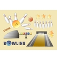 Bowling icons set vector image vector image