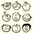 cartoon face collection vector image