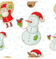 christmas figures seamless white vector image vector image