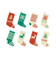christmas stockings various traditional colorful vector image vector image