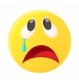 Crying face emoticon with tear icon cartoon style vector image vector image