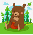 cute bear sitting in forest vector image