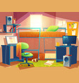 dorm room with furniture vector image vector image