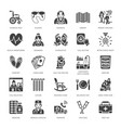 elderly care flat glyph icons nursing home vector image vector image